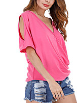 Women's Going out Club Holiday Sexy Simple Street chic Ruched Cut Out Off-The-Shoulder All MatchSpring Summer T-shirtSolid Deep V Short Sleeve Medium
