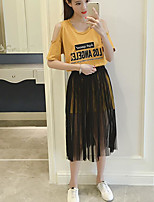 Women's Casual/Daily Casual Summer T-shirt Skirt Suits,Color Block Quotes & Sayings Round Neck Short Sleeve Micro-elastic