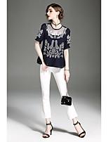 Damen Stickerei Retro Einfach Festtage Ausgehen Arbeit T-shirt,Rundhalsausschnitt Sommer Kurzarm Polyester Dünn