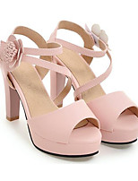 Femme Chaussures à Talons Confort Polyuréthane Printemps Décontracté Confort Blanc Beige Rose Plat