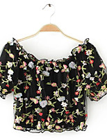 Women's Daily Casual Simple Blouse,Embroidery Boat Neck Short Sleeve Polyester