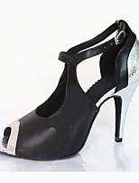 Damen Latin Kunstleder Sandalen Aufführung Verschlussschnalle Stöckelabsatz Schwarz-Weiß 7,5 - 9,5 cm Maßfertigung