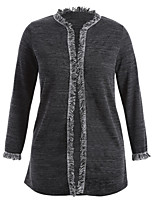 Women's Daily Casual Winter Fall/Autumn Coat,Solid Round Neck Long Sleeve Long Polyester