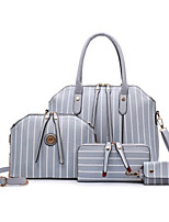 Women Bag Sets PU All Seasons Casual Outdoor Round Zipper Gray Red Black
