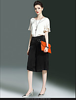 Women's Casual Tunics Summer Shirt Skirt Suits,Solid Round Neck Half Sleeve strenchy