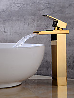 Centerset Waterfall One Hole for  Gold , Bathroom Sink Faucet