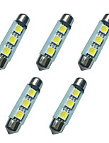 5PCS Double Pointed LED Lights 41MM 1W 3SMD 5050 Chip 80-100LM 6500-7000K DC12V Reading Light License Plate Lights