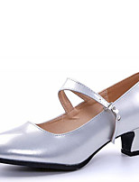 Women's Dance Shoes Heels Modern Leatherette Low Heel Outdoor Gold/Silver/Dark Red