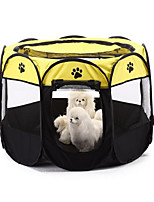 Dog Bed Pet Baskets Color Block Footprint/Paw Waterproof Breathable Foldable Washable Ruby Yellow