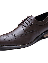 Men's Oxfords Formal Shoes PU Spring Summer Office & Career Party & Evening Formal Shoes Lace-up Flat Heel Screen Color Brown Black1in-1