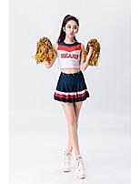 Fantasias para Cheerleader Roupa Mulheres Apresentação Poliéster Recortes 2 Peças Sem Mangas Natural Saias Blusas
