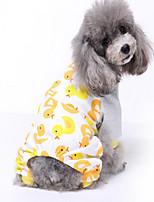 Dog Pajamas Dog Clothes Casual/Daily Cartoon Blue Yellow