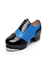Men's Tap Real Leather Leather Heels Sneakers Practice Splicing Low Heel White/Silver Red/White Black/Blue Pink/Black 1