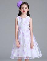 Vestido Chica de Floral Algodón Poliéster Sin Mangas Verano