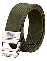 Men's Alloy Outdoor Waist Belt Casual/Business Solid Pure Color Nylon Canvas Belt Black/Khaki/Army Green