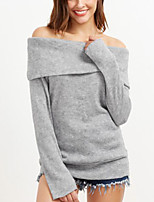 Women's Daily Street chic Regular Pullover,Solid Boat Neck Long Sleeve Wool & Polyester Blended Spring Fall Medium Micro-elastic