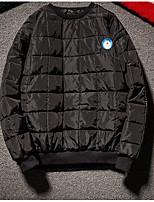 Пальто Простое Активный На подкладке Для мужчин,Однотонный Графика Повседневные Хлопок Полиэстер Хлопок,Длинный рукав