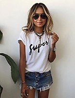 Women's Sport Daily Casual Simple Street chic Spring Summer T-shirt,Print Letter & Number Black & White Round Neck Short Sleeve Cotton