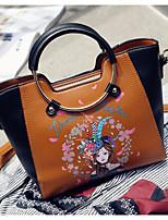 Women Shoulder Bag PU All Seasons Casual Outdoor Square Zipper Brown Gray Black