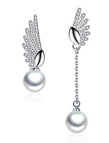 Women's Drop Earrings Cubic Zirconia Imitation Pearl Unique Design Chrome Wings / Feather Jewelry For Office/Career Daily