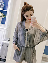 Women's Daily Casual Casual Summer T-shirt Pant Suits,Solid Striped Round Neck Long Sleeve Inelastic