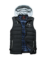 Men's Regular Padded Coat,Simple Active Daily Casual Solid Striped-Polyester Cotton Sleeveless