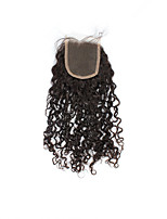 Natural kinky Curly Lace Closure 100% Human Hair Lace Closure Bleached Knots 3.5x4 Inch