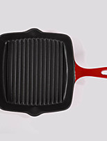 Chef's Classic Enameled Cast Iron10 Inch Square Grill Pan Red&BLue