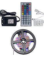 5M IP65 RGB LED 3528 Strip Lights Flexible Light LED Strips with 2A Adapter Power 44 Key IR Remote Controller DC12V