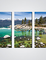 Stretched Canvas Print Snow Mountain and a Green Lake  Giclee Print Landscape Art for  Wall Decoration Ready to Hang