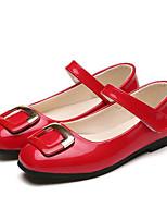 Mädchen Flache Schuhe Komfort PU Frühling Herbst Normal Walking Komfort Klettverschluss Niedriger Absatz Schwarz Rot Rosa Flach