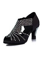 Women's Latin Satin Heels Indoor Rhinestone Stiletto Heel Black 2