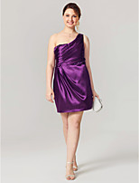 Sheath / Column One Shoulder Short / Mini Stretch Satin Cocktail Party Homecoming Dress with Beading Side Draping Pleats by TS Couture®