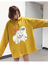 Women's Daily Hoodie Animal Print Hooded Micro-elastic Cotton Long Sleeve Spring