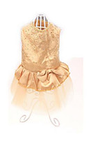 Dog Dress Dog Clothes Party Casual/Daily Solid Blushing Pink Gold