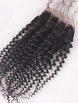 3 Part way Kinky Curly Lace Closure Bleached Knots 3.5x4  Human Hair Closure