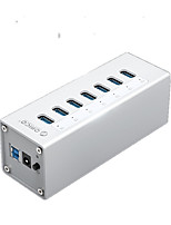 Orico a3h4-bk aluminium usb3.0 10ports 5gbps 1mcable avec mac interface hub