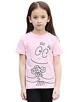 Girls' Cartoon Tee,Cotton Summer Short Sleeve Regular