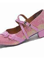 Women's Latin Leatherette Flats Practice Blushing Pink Silver Gold