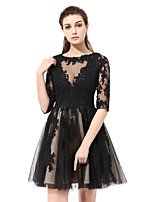 Princess Jewel Neck Knee Length Lace Cocktail Party Dress