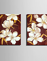 Mini Size E-HOME Oil painting Modern White Flowers Pure Hand Draw Frameless Decorative Painting  Set of 2