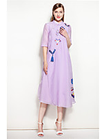 Mary Yan&Yu Going out Casual/Daily Beach Simple Chinoiserie A Line DressEmbroidered Stand Above Knee  Length Sleeve Cotton Blue White Spring Summer