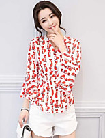 Women's Daily Casual Simple Blouse,Lines / Waves V Neck Long Sleeve Polyester