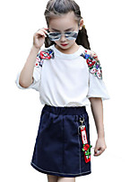 女の子 ファッション プリント 刺繍 コットン ポリエステル セット 夏 半袖 アンサンブル