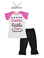 Girls' Print Sets Cotton Summer Short Sleeve Clothing Set Daddy Little Girl T Shirt Black Pants with Headband 3pcs Outfits