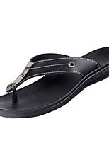 Men's Slippers & Flip-Flops Comfort PU Summer Casual Walking Comfort Flat Heel Dark Brown Black Flat