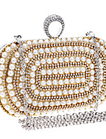 Women Evening Bag Polyester All Seasons Wedding Event/Party Formal Minaudiere Rhinestone Pearl Detailing Clasp LockRed Silver Black Gold