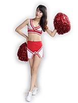 Fantasias para Cheerleader Roupa Mulheres Apresentação Roupa de Malha Lã e poliéster Adornos 2 Peças Sem Mangas Alto Saias Blusas