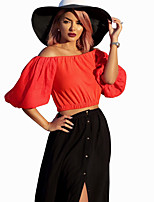 Women's Popular Fashion Solid Boat Neck Casual/Daily Sexy Half Sleeve Off Shoulder T-shirt