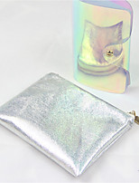 Women Cosmetic Bag PU All Seasons Casual Round Zipper Silver